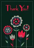 Thank you card hand drawn floral retro style