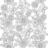 Hand drawn flowers and butterflies for the anti stress coloring stock photography