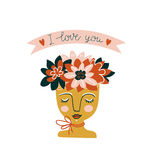 Hand drawn flowers in the ceramic pot with woman face. Vector print design. Royalty Free Stock Photo