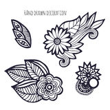 Hand drawn flowers. Coloring page decoration. Vector set with whimsical flower Royalty Free Stock Image
