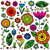 Hand drawn flowers and floral elements royalty free illustration