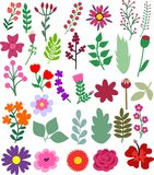 Hand Drawn  Flowers And Floral Elements. The Floral Elements is vector illustration Stock Image