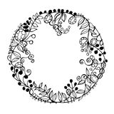 Hand drawn flowers. Floral wreath. Vector illustration. Royalty Free Stock Photos