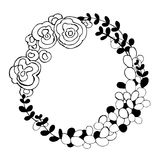 Hand drawn flowers. Floral wreath. Vector illustration. Royalty Free Stock Photography