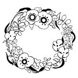 Hand drawn flowers. Floral wreath. Vector illustration. Stock Image
