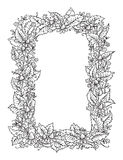 Hand drawn flowers frame on white background Royalty Free Stock Image