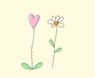 Hand drawn flowers and heart Stock Photography