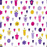 Hand drawn flowers and hearts doodle seamless pattern. Pink, purple, yellow, violet flowers. Naive style, Endless pattern royalty free illustration