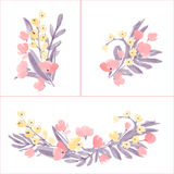 Hand Drawn Flowers and Leaf composition for your design. Stock Photo