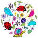 Hand drawn flowers and leaves doodle. Pink, purple, yellow, blue red flowers. Green leaves. stock illustration