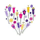 Hand drawn flowers and leaves doodle. Pink, purple, yellow, violet flowers.