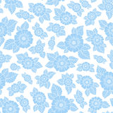 Hand drawn flowers and leaves seamless pattern. Stock Images