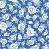 Hand drawn flowers and leaves seamless pattern. Royalty Free Stock Photo
