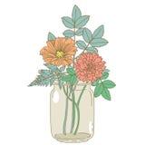 Hand drawn flowers in a mason jar Stock Photos