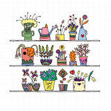 Hand drawn Flowers In Pots, doodle set Stock Images