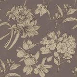 Hand drawn flowers seamless pattern Stock Photo