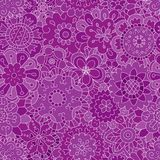 Hand-drawn flowers. Seamless pattern in doodle and cartoon style. Purple. Vector. EPS 8 Royalty Free Stock Photography