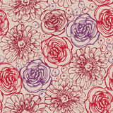 Hand drawn flowers seamless pattern Royalty Free Stock Image