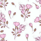 Hand drawn flowers seamless pattern. Vector illustration. Stylized floral background Stock Photo