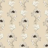 Hand Drawn Flowers Seamless Pattern Royalty Free Stock Photo