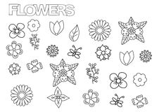 Hand drawn flowers set. Coloring book page template. Stock Photo