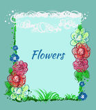 Hand drawn flowers, sky, grass. Vector greeting card Stock Photos