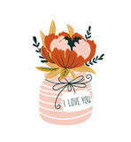 Hand drawn flowers in the vase with tag - `I love you`. Scandinavian style vector illustration, Valentines Day card. Royalty Free Stock Image