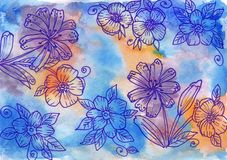 Hand-drawn flowers on watercolor background. stock images