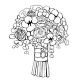 Hand drawn flowers.Wedding bouquet. Vector illustration. Royalty Free Stock Photo
