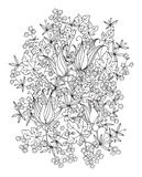 Hand drawn flowers on white background Stock Images