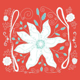 Hand-drawn flowery design on pink Royalty Free Stock Images