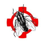Hand drawn fly on crosshair. Vector illustration stock illustration