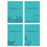 Hand drawn flyers with sings on theme sea. Vector Stock Photography