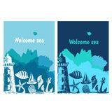 Hand drawn flyers with sings on theme sea. Vector Royalty Free Stock Photos
