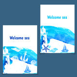 Hand drawn flyers with sings on theme sea. Vector Royalty Free Stock Images