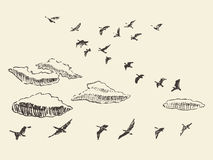 Hand drawn flying birds sky clouds migratory Stock Photography