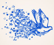 Hand drawn flying dove Stock Photos