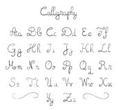 Hand drawn font. Hand drawn calligraphic font in  format Stock Image