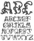 Hand drawn font. Hand drawn and sketched ribbon font royalty free illustration