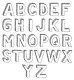 Hand drawn font. Hand drawn  abc, font, 3D, alphabet Stock Photography