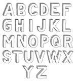 Hand drawn font. Hand drawn abc, font, 3D, alphabet stock illustration
