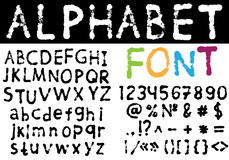 Hand drawn font: alphabet and numbers. Vector illustration with hand drawn grungy font: alphabet and numbers Stock Photography