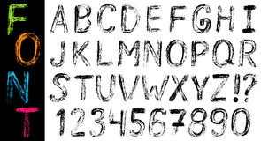 Hand drawn font: alphabet and numbers. Vector illustration with hand drawn grungy font: alphabet and numbers Royalty Free Stock Photography