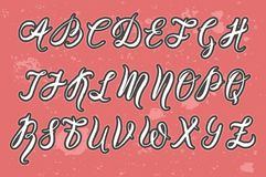 Hand drawn font by a brush pen, watercolor alphabet, capital letters on pink background with sprays. Vector illustration, hand drawn font by a brush pen vector illustration