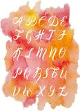 Hand drawn font by a brush pen, watercolor alphabet, capital letters on watercolor stain. Vector illustration, hand drawn font by a brush pen, watercolor stock illustration