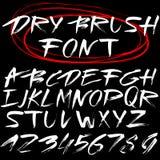 Hand Drawn Font. Brush Stroke Alphabet. Grunge Style Stock Photography