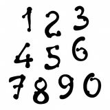 Hand drawn font digits Stock Images