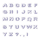 Hand Drawn Font, Doodle Alphabet, Childish ABC. Vector Illustration Stock Photo
