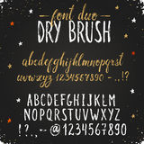 Hand drawn font duo. Handmade letters. Handwritten alphabet on blackboard. Hand drawn grunge calligraphy. Modern chalk typography. Dry brush font duo Stock Image