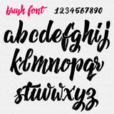 Hand drawn font handwriting brush Stock Image